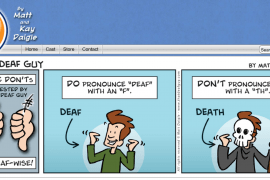 """Screenshot from the """"That Deaf Guy"""" comic strip website by creators Matt and Kay Daigle."""