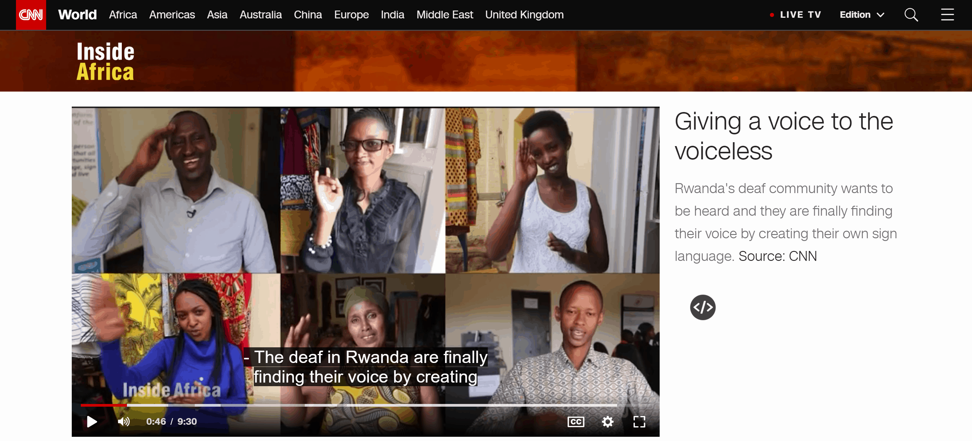 "Screenshot of a page in the CNN news website showing a frozen video ""Giving a voice to the voiceless"" about deaf awareness and empowerment in Rwanda."