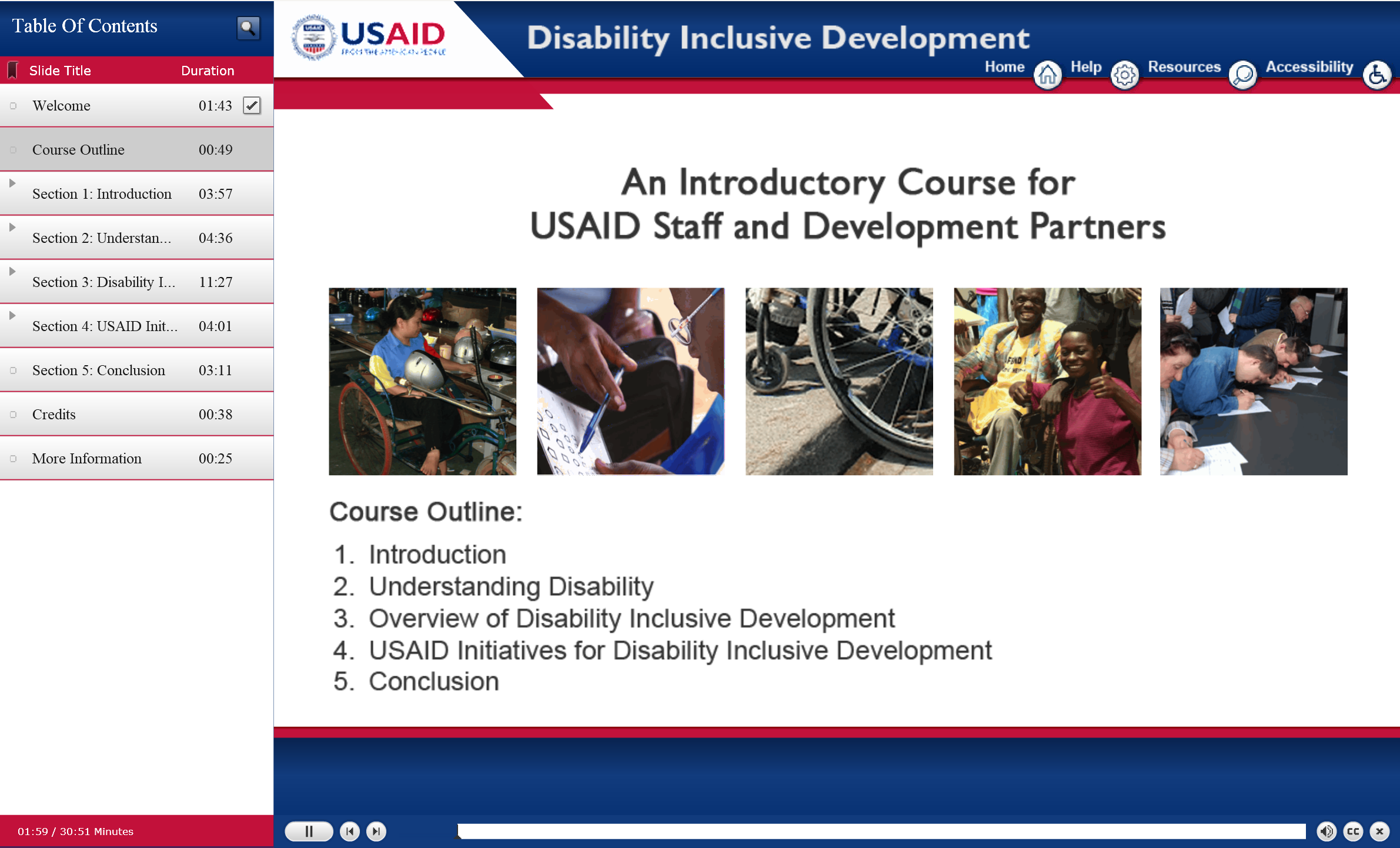 Screenshot shows the front page of the USAID Disability Inclusion 101 class with a course outline.