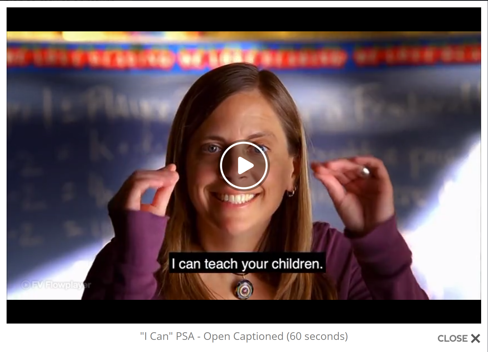 """Screenshot of a video frozen on the face of a woman who is signing to the camera. The caption at the bottom of the video screen says """"I can teach your children."""""""