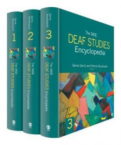 "Photo shows the three volumes of the publication ""The SAGE Deaf Studies Encyclopedia"" together."