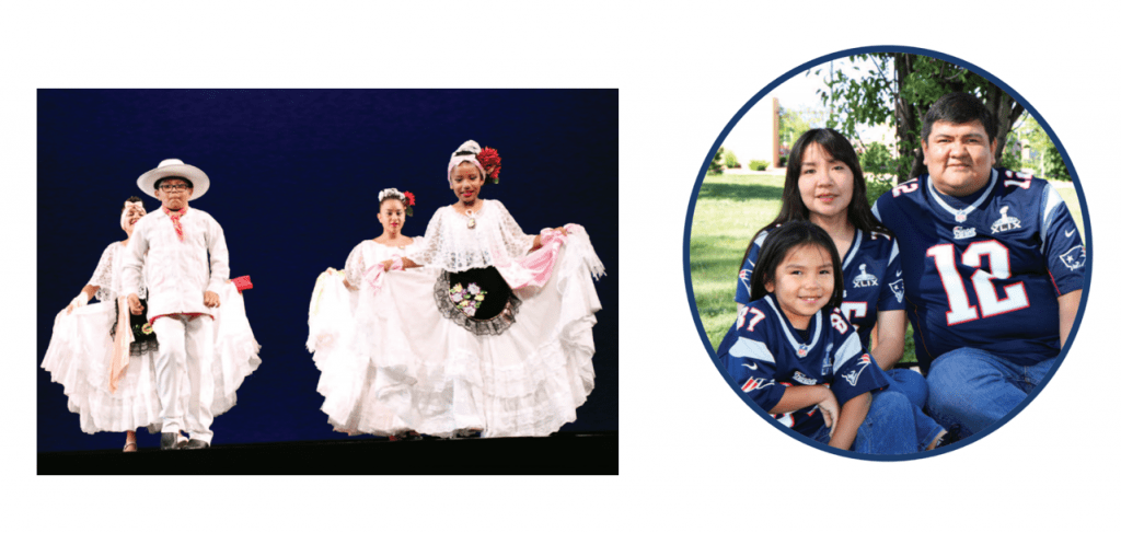 Two photos are shown. The photo at the left shows children in a Mexican folklore dance, including the Deaf daughter in one of the two families in the article. The photo at right shows one of the Deaf sons in the article with his family.