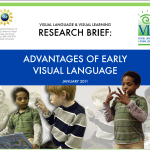 "Cover of the publication entitled ""Visual Language & Visual Learning Research Brief: Advantages of Early Visual Language"". Below the title is a montage of two boys signing either to each other or to themselves."