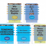 """Five copies of the cover for """"We have human rights"""" in five languages: English, Chinese, Spanish, Portuguese, and French."""