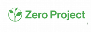 Logo for Zero Project shows the name and, to its left, a green sprout with three leaves inside a circle.
