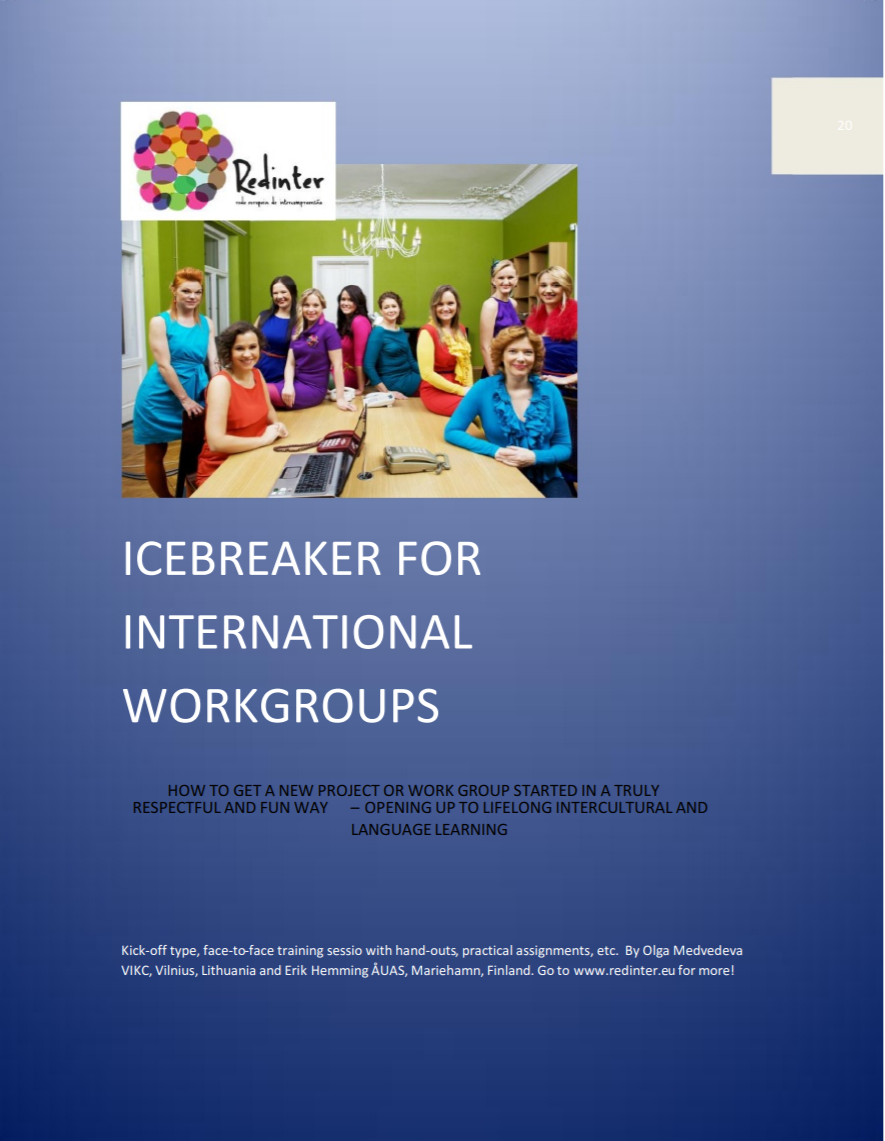 """Cover of the publication entitled """"Icebreaker for International Workgroups"""". The photo above the title on the cover shows a large group of people standing next to, or seated at, a long conference table."""