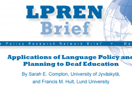 "At the top of the article entitled ""Applications of Language Policy and Planning to Deaf Education"" is an image of the globe."