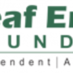 "Logo for Deaf EnAbled Foundation. To the left is the acronym (DEF) with a line drawing of two hands. To the right is the full name of the organization with the slogan beneath it, ""Independent 