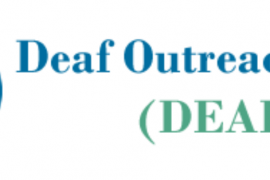 "Logo for the Deaf Outreach Program. Below the name is the acronym (DEAFOP). To the left are two circles, yellow and blue, that overlap to create a green area in between. The word ""Deaf"" is inside the green area, the acronym ""OP"" is inside the blue area."
