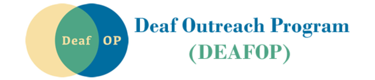 """Logo for the Deaf Outreach Program. Below the name is the acronym (DEAFOP). To the left are two circles, yellow and blue, that overlap to create a green area in between. The word """"Deaf"""" is inside the green area, the acronym """"OP"""" is inside the blue area."""