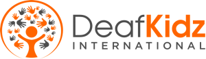 Logo for DeafKidz International. To the left of the organization's name is a drawing of a person that could also be the trunk of a tree, and many hand shapes around the top that could be leaves for the tree.