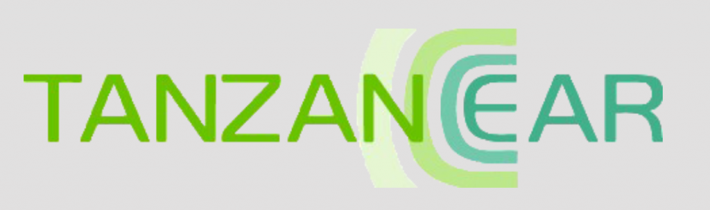 "logo for Tanzanear. The name of the organization is spelled in all capital letters. The last three letters, ""Ear"", are in a different color from the rest of the name."