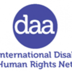 "The logo for Disability Awareness in Action shows the acronym daa in lower case letters inside a circle. below it are the words ""The International Disability and Human Rights Network"""